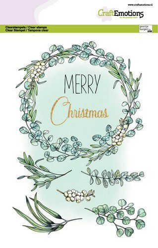 CraftEmotions clearstamps A5 - Eucalyptus krans Merry Christmas GB Dimensional stamp (09-21)