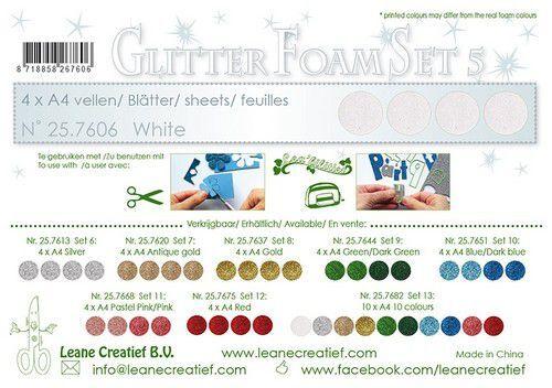 LeCrea - Glitter foam 4 vel A4 - Wit 25.7606 (09-21)