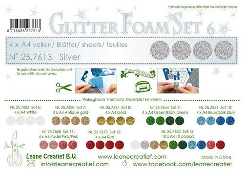 LeCrea - Glitter foam 4 vel A4 - Zilver 25.7613 (09-21)