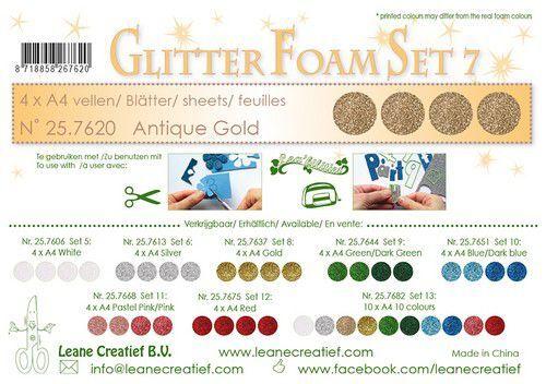 LeCrea - Glitter foam 4 vel A4 - Antiek goud 25.7620 (09-21)