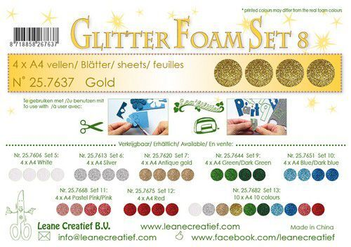 LeCrea - Glitter foam 4 vel A4 - Goud 25.7637 (09-21)