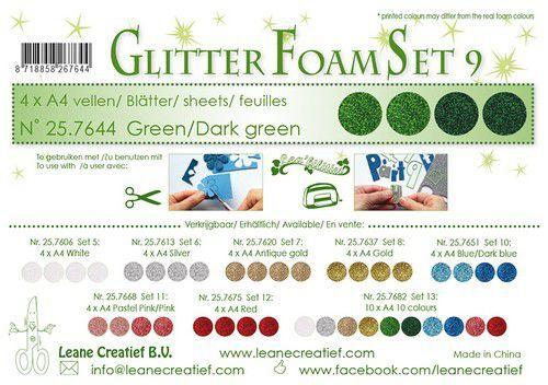LeCrea - Glitter foam 4 vel A4 - Groen 25.7644 (09-21)