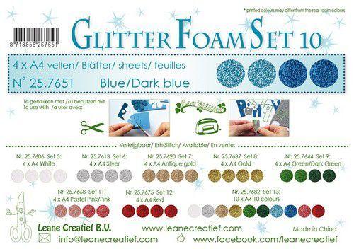 LeCrea - Glitter foam 4 vel A4 - Blauw 25.7651 (09-21)