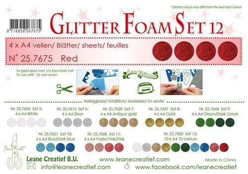 LeCrea - Glitter foam 4 vel A4 - Rood 25.7675 (09-21)