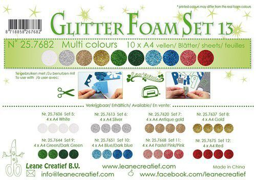 LeCrea - Glitter foam 10 vel A4 - diverse kleuren 25.7682 (09-21)