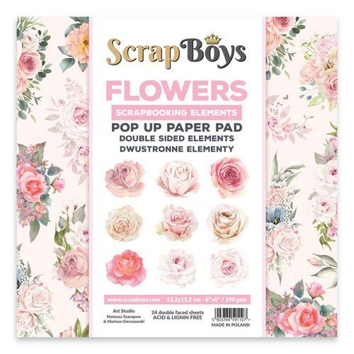 POP UP Paper Pad double sided elements - Flowers / Roses POPFL-01 190gr 15,2x15,2cm (09-21)
