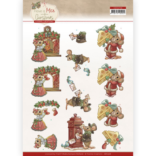 3D Cutting Sheet - Yvonne Creations - Have a Mice Christmas - Sending Christmas Cards