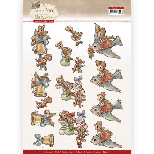 3D Cutting Sheet - Yvonne Creations - Have a Mice Christmas - Christmas Socks