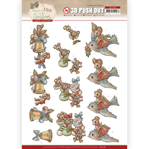 3D Push Out - Yvonne Creations - Have a Mice Christmas - Christmas Socks