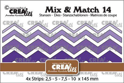 Crealies Mix & Match no. 14 Zigzag strips glad CLMix14 2,5-5-7,5-10x145mm (09-21)