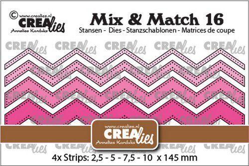 Crealies Mix & Match no. 16 Zigzag strips stippenlijn CLMix16 2,5-5-7,5-10x145mm (09-21)
