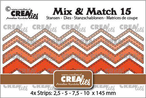 Crealies Mix & Match no. 15 Zigzag strips stiksteeklijn CLMix15 2,5-5-7,5-10x145mm (09-21)