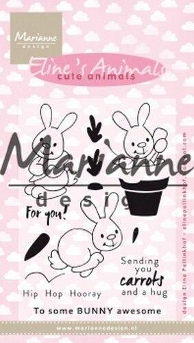 EC0178 MARIANNE D CLEAR STAMP ELINES CUTE ANIMALS - KONIJNTJES