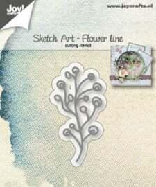 6002/1246Joy! stencil sketch art bloemen lijn1 x snijmal afmeting: 6 x 3 cm