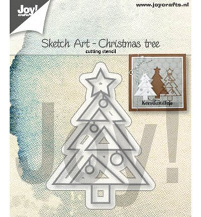 -6002/1312 Cutting & embossing Sketch Art Kerstboom