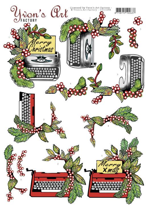 3D Cutting Sheet - Yvon's Art -Christmas Typewriter