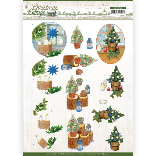 3D Cutting Sheet - Jeanine's Art - Christmas Cottage - Blue Decorations