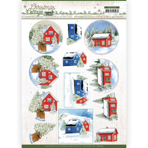 3D Cutting Sheet - Jeanine's Art - Christmas Cottage - Winter Cottage