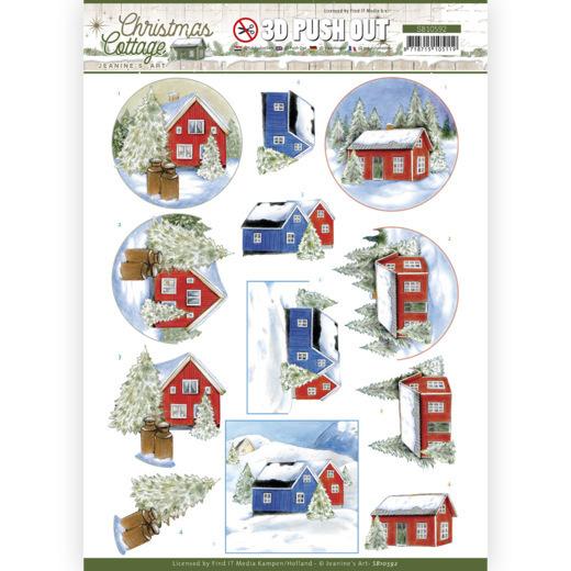 3D Push Out - Jeanine's Art - Christmas Cottage - Winter Cottage
