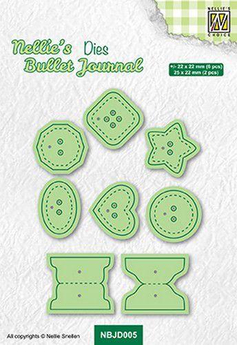 Nellies Choice bullet Journal Dies Knopen NBJD005 22x22mm - 25x22mm (10-21)