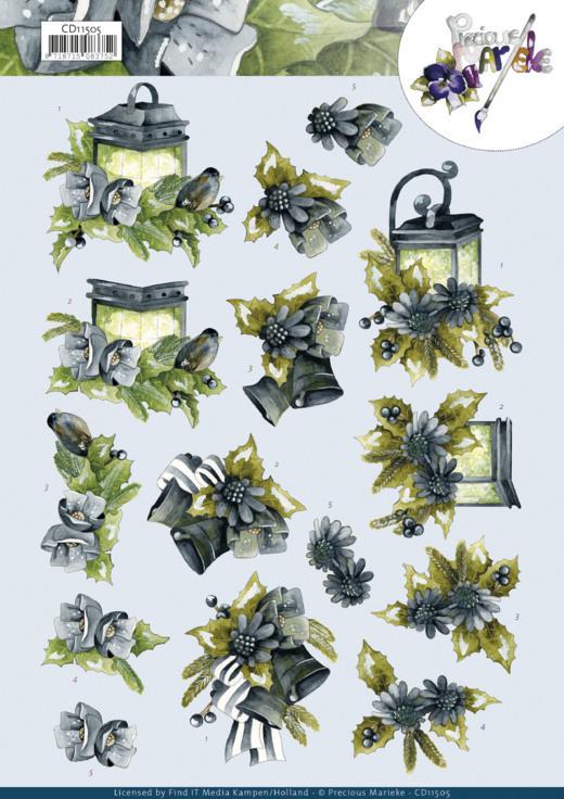 3D Cutting Sheet - Precious Marieke - Blue Flowers
