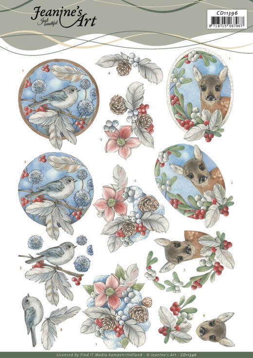 3D Cutting Sheet - Jeanine's Art - Berries and Feathers
