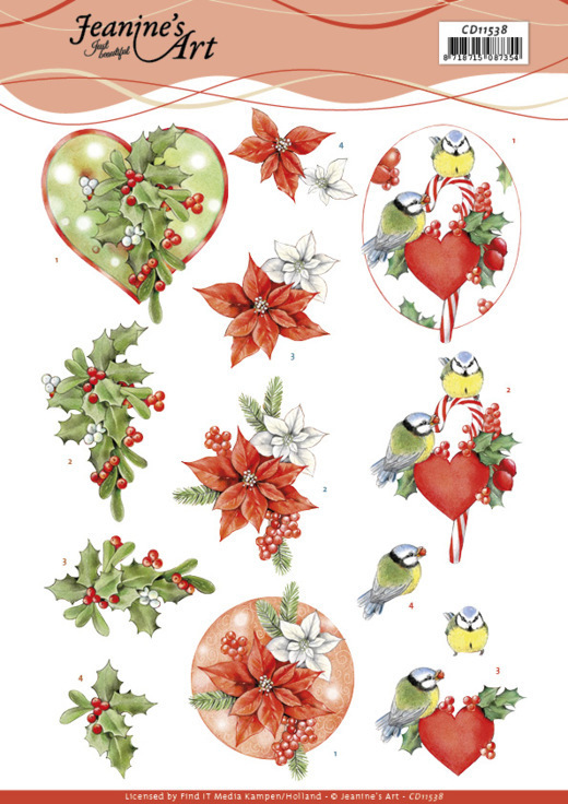 3D Cutting Sheet - Jeanine's Art - Red Holly Berries
