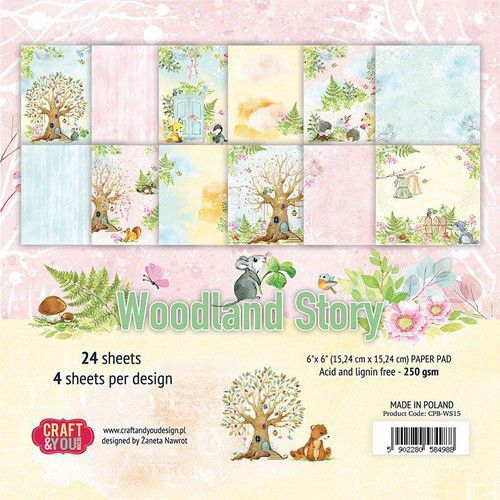Craft&You Woodland Story Small Paper Pad 6x6 36 vel CPB-WS15 (10-21)