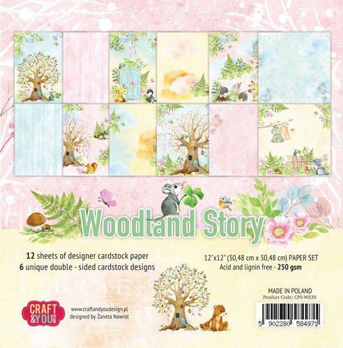 Craft&You Woodland Story Big Paper Set 12x12 12 vel CPS-WS30 (10-21)