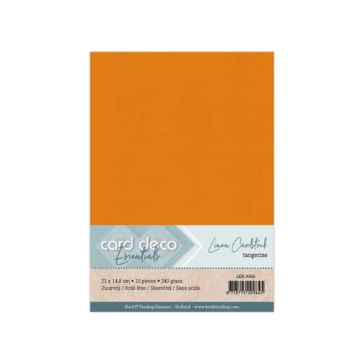 Linen Cardstock - A5 - Tangerine