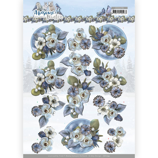 3D Cutting Sheet - Amy Design - Awesome Winter - Winter Flowers