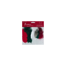 Feathers, Marabou & Guinea Fowl, Assorted Mix, Christmas, 6 x 3