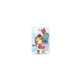 Wild Rose Studio`s A7 stamp set Girl with Xmas Presents