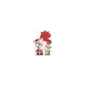 Wild Rose Studio`s A7 stamp set Mouse and Poinsettia