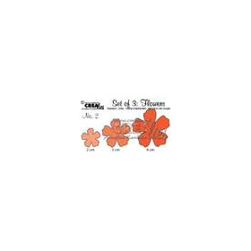Crealies Set of 3 Flowers no. 2 stans fantasie bloem CLSEtF02 / 2, 3, 4 cm