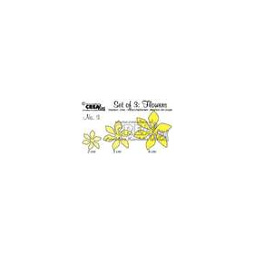 Crealies Set of 3 Flowers no. 3 stans fantasie bloem CLSetF03 / 2, 3, 4 cm