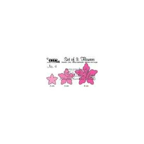 Crealies Set of 3 Flowers no. 4 stans fantasie bloem CLSetF04 / 2, 3, 4 cm
