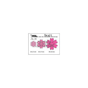 Crealies Set of 3 no. 26 Bloemen 16 CLSet26 2 cm - 3 cm - 4 cm