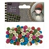 Coloured Wooden Buttons (100pcs) - Santoro Tweed