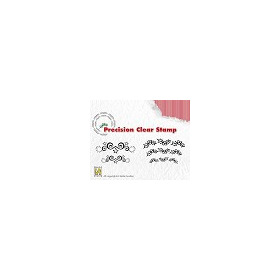 Nellie`s Choice Precision clear stamp - Christmas starswirls - holly APST018