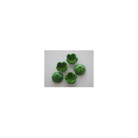 Real leather Flowers, Lt.Green, 18mm, 5pcs/header bag