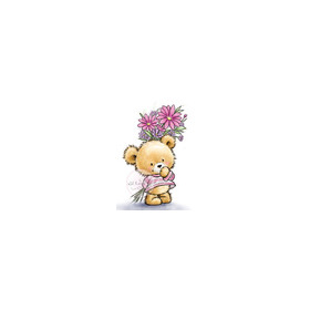 Wild Rose Studio's A7 stamp set Teddy with flowers CL490