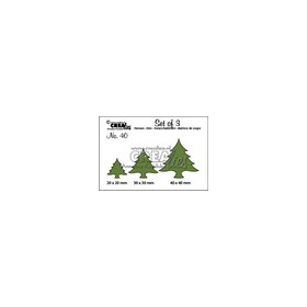 Crealies Set of 3 no. 40 Kerstbomen dik 20x20-30x30-40x40mm / CLSET40 (09-16)