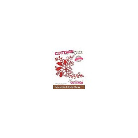 Scrapping Cottage CottageCutz Poinsettia & Holly Spray (Elites) (CCE-188)