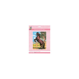 3083K - Eurocraft NEEDLEPOINT KIT 14x18cm Black Stallion