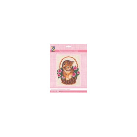 3138K - Eurocraft NEEDLEPOINT KIT 14x18cm Kitten in Rose Basket