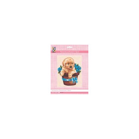 3140K - Eurocraft NEEDLEPOINT KIT 14x18cm Puppy in Flower Pot
