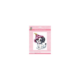 3194K - Eurocraft NEEDLEPOINT KIT 14x18cm Puppy with Flower Hat