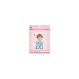 3303K - Eurocraft NEEDLEPOINT KIT 14x18cm Angel Boy Praying with Moon & Stars
