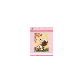 3313K - Eurocraft NEEDLEPOINT KIT 14x18cm Puppy & Butterfly
